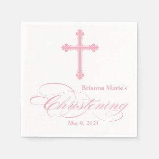 Elegant Pink Cross Christening Personalized Napkin Paper Napkin