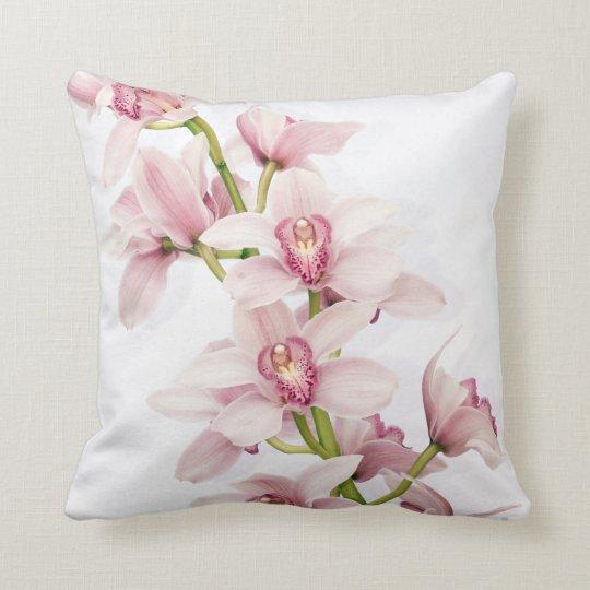 Elegant Pink Cymbidium Orchid Throw Pillow