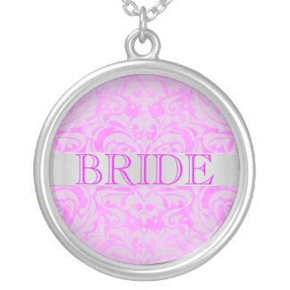 Elegant Pink Damask Bride Wedding Necklace