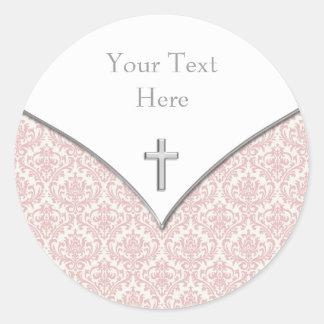 Elegant Pink Damask Christening Stickers