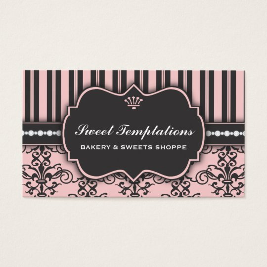 Elegant Pink Damask & Stripe Bakery Business Card