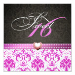 Elegant Pink Damask Sweet Sixteen Birthday Personalized Invite