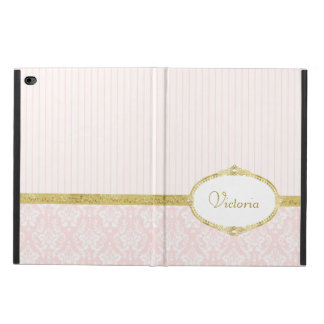 Elegant Pink Damask Vintage Gold Frame and Name Powis iPad Air 2 Case