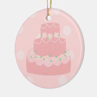 Elegant Pink Designer Cake Round Ceramic Decoration