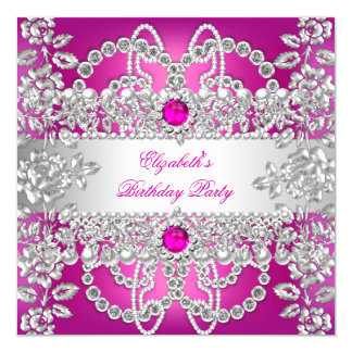 Elegant Pink Diamonds Silver Floral Birthday Party Card