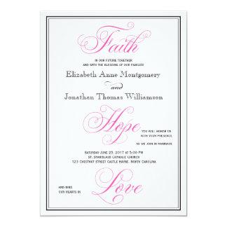 Elegant Pink Faith Hope Love Wedding Invitation