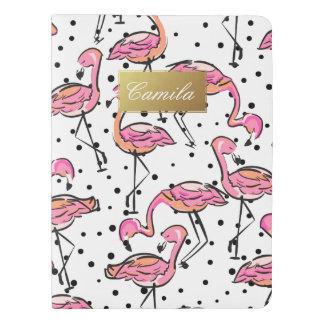 Elegant Pink Flamingo Dalmatian Dots Personalized Extra Large Moleskine Notebook