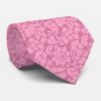 Elegant Pink Floral Damasks Tie