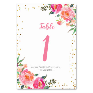 Elegant Pink Floral Gold Table Number