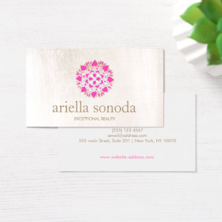 Elegant Pink Floral Lotus Beauty Salon and Spa Business Card