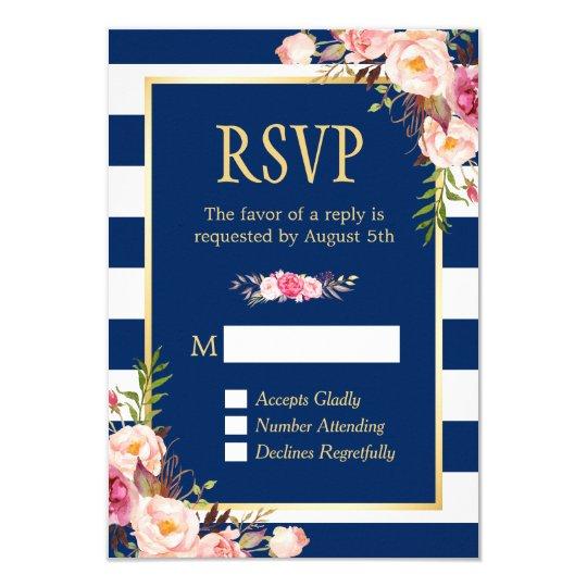 Elegant Pink Floral Navy Blue Stripes Reply RSVP