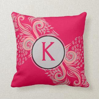 Elegant pink floral pattern monogram throw pillow