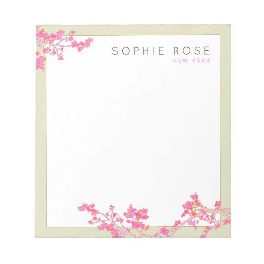 Elegant Pink Floral Personalised Notepad