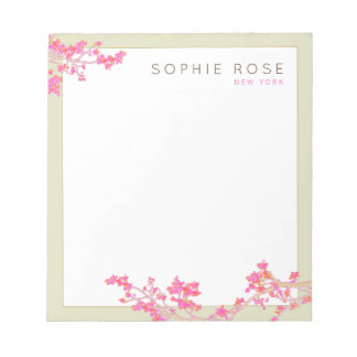 Elegant Pink Floral Personalized Notepad