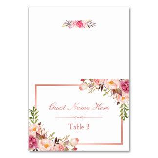 Elegant Pink Floral Rose Gold Wedding Place Escort Card