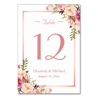 Elegant Pink Floral Rose Gold Wedding Table Number