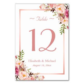 Elegant Pink Floral Rose Gold Wedding Table Number Table Card