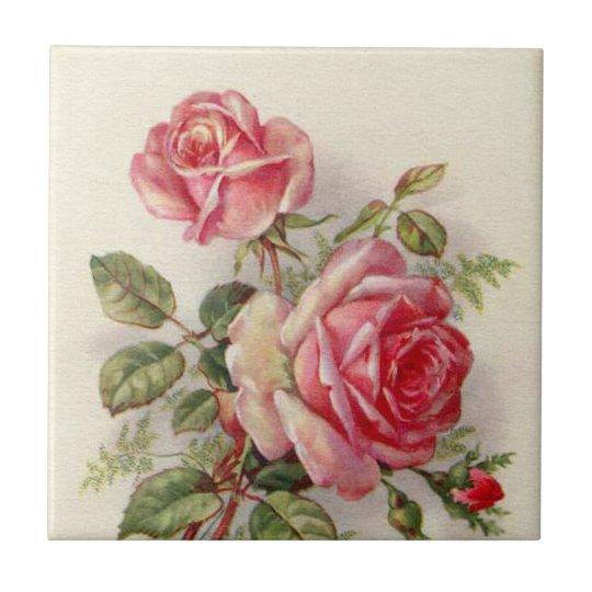 elegant pink floral roses Vintage home decor tile