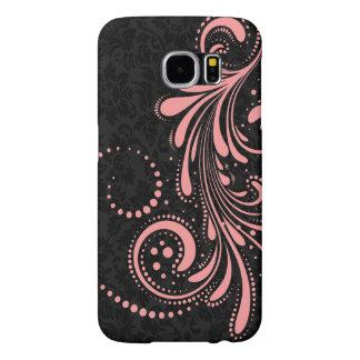 Elegant Pink Floral Swirl Over Black Damasks Samsung Galaxy S6 Cases