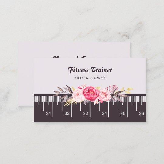 Elegant pink floral tape measure fitness trainer business card elegant pink floral tape measure fitness trainer business card reheart Image collections
