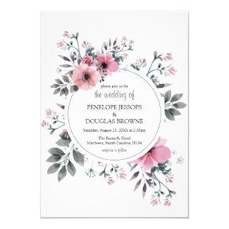 Elegant Pink Florals & Grey Foliage Wedding Invitation