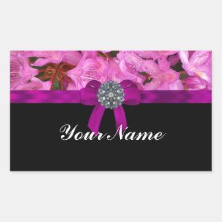 Elegant pink flower & bow rectangular sticker