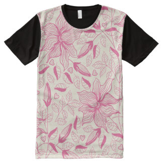Elegant pink Flower Pattern All-Over Print T-Shirt