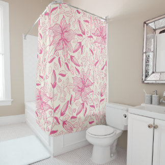 Elegant pink Flower Pattern Shower Curtain