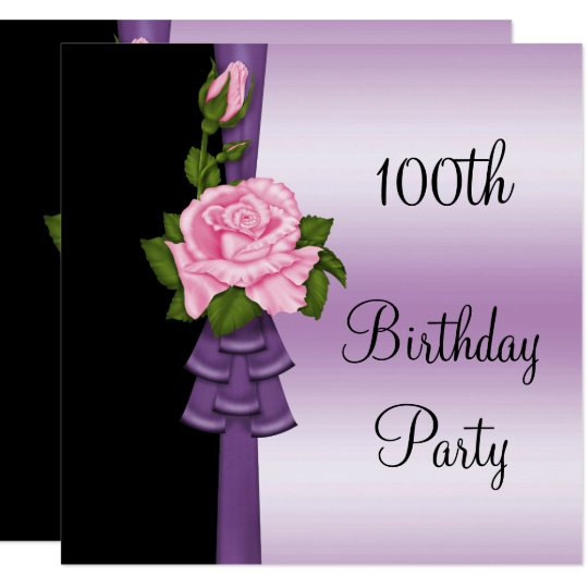 Elegant Pink Flower & Purple Ribbon 100th Birthday