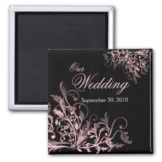 Elegant Pink Flower Swirls Save The Date Wedding Square Magnet