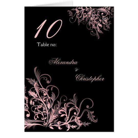 Elegant Pink Flower Swirls Table Number Card