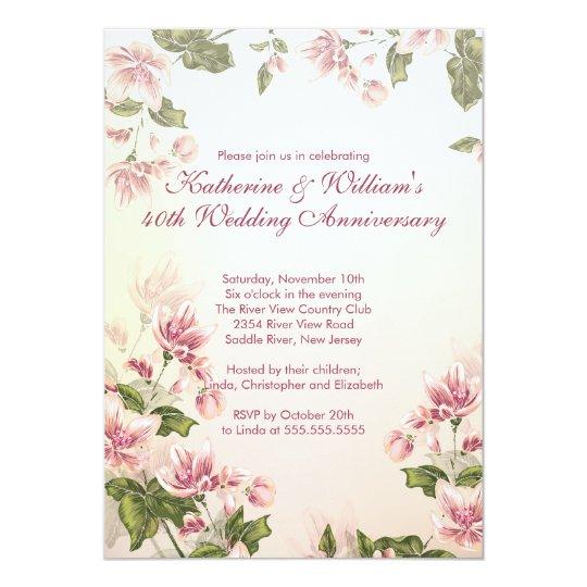 Elegant Pink Flowers Floral Wedding Anniversary Card