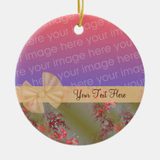 Elegant Pink Flowers Ribbon Photo Ornament
