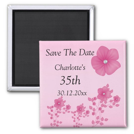 Elegant Pink Flowers With Diamonds Square Magnet