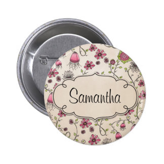 Elegant Pink flowers with frame for name 6 Cm Round Badge