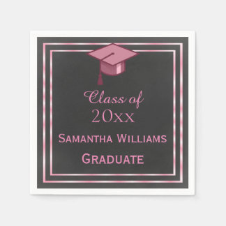Elegant Pink Framed Graduation Disposable Napkins