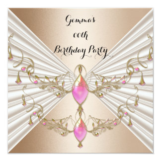 Elegant Pink Gem Jewelled Coffee Beige Party 13 Cm X 13 Cm Square Invitation Card