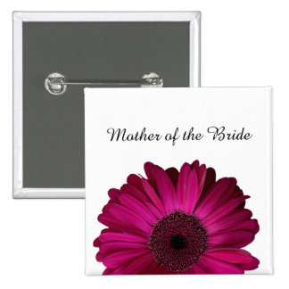 Elegant Pink Gerbera Daisy Wedding 15 Cm Square Badge