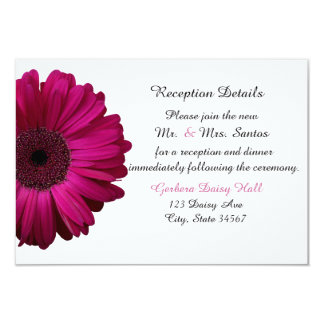 Elegant Pink Gerbera Daisy Wedding Reception Card
