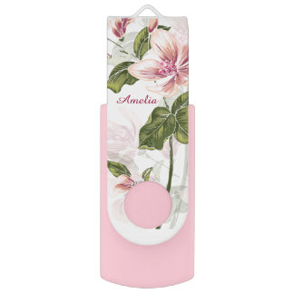 Elegant Pink Girly Floral Personalized Swivel USB 2.0 Flash Drive