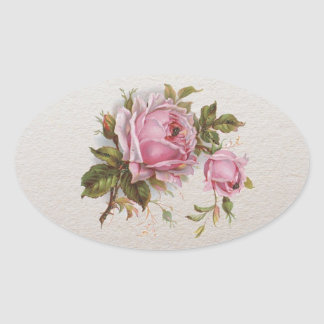 Elegant Pink Girly Vintage Cute Rose Oval Sticker