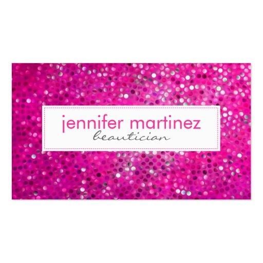 Elegant Pink Glitter Beautician Business Card 2 Business Card Templates