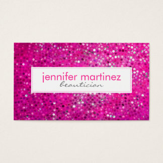Elegant Pink Glitter Beautician Business Card 2