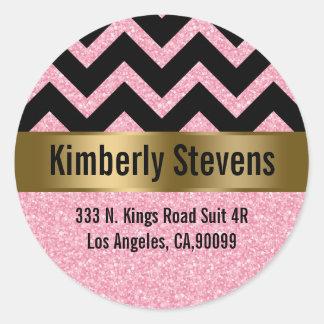 Elegant Pink Glitter Black Chevron Gold Accents Round Sticker