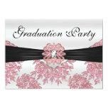 Elegant Pink Glitter Graduation Party 13 Cm X 18 Cm Invitation Card