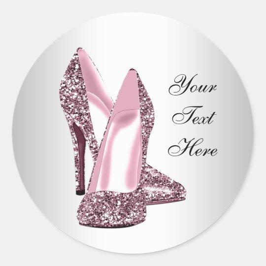 Elegant Pink Glitter High Heel Shoe Classic Round