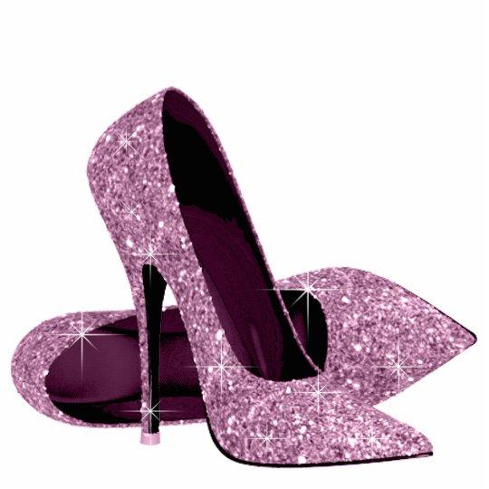 Elegant Pink Glitter High Heel Shoes Standing Photo