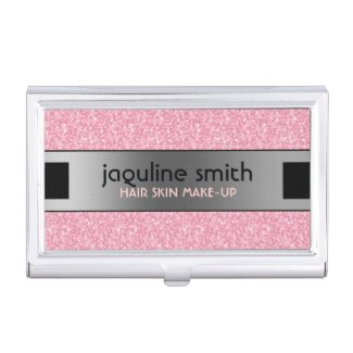 Elegant Pink Glitter Silver & Black Accents Business Card Case
