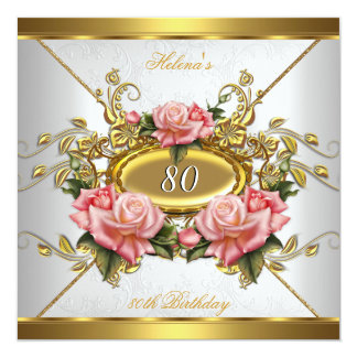 Elegant Pink Gold Roses White 80th Birthday Party Card