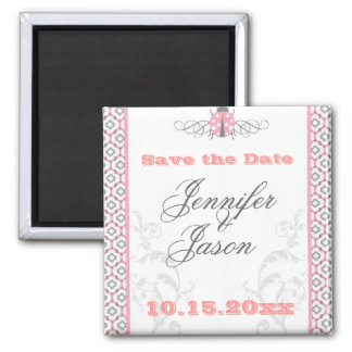 Elegant Pink & Gray Garden Wedding Invitations Square Magnet